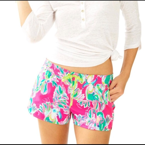 89cf3c3f9f8632 Lilly Pulitzer Pants - Lilly Pulitzer Luxletic Run Around Shorts Toucan